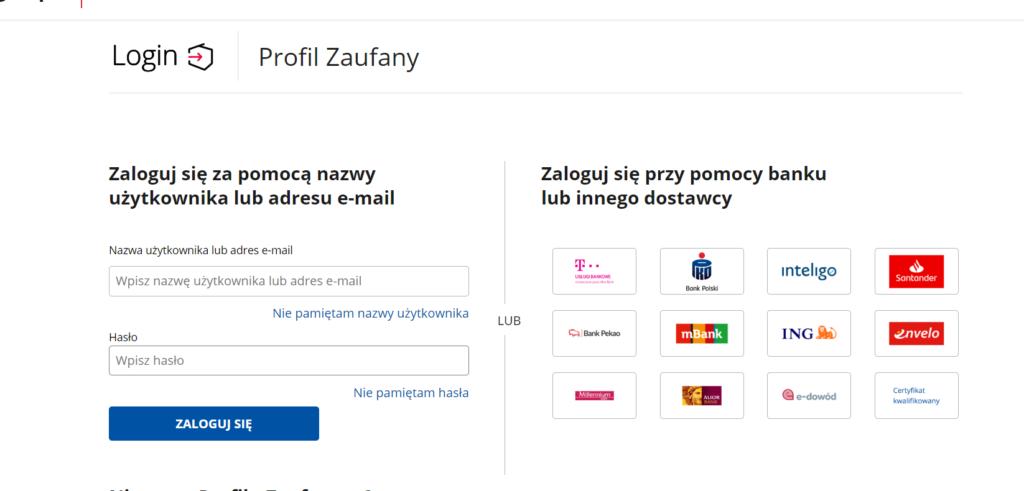 Strona Profilu zaufanego.